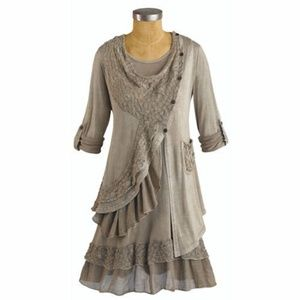 Boho Taupe Two-Piece Layered Tunic Lace Detail